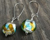 Aqua and Amber Silver Lined Lampworked Glass Bead Earrings