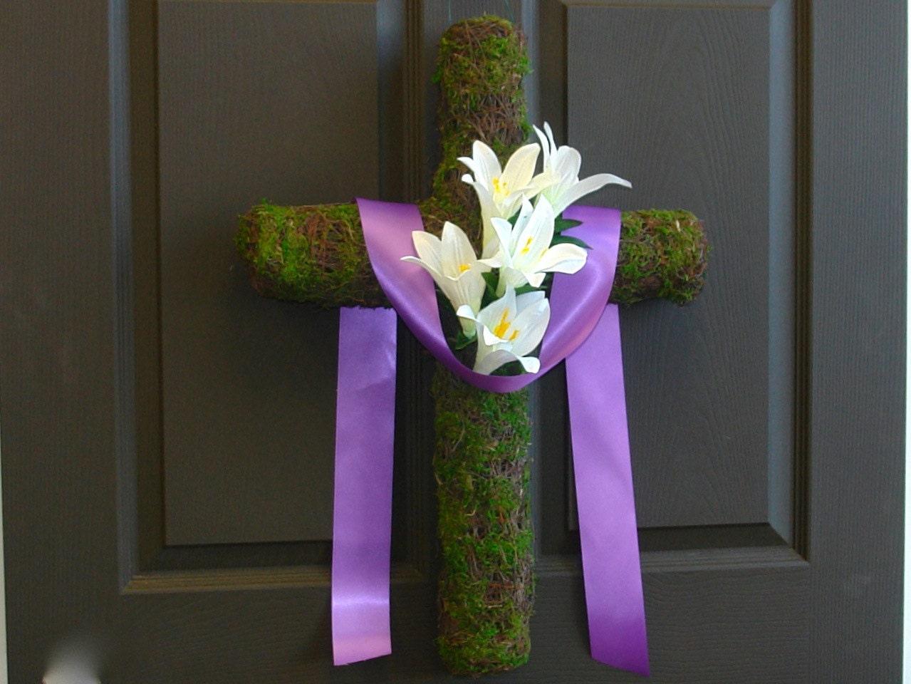 Spring Wreath Easter Wreath Cross Wreath Front Door By