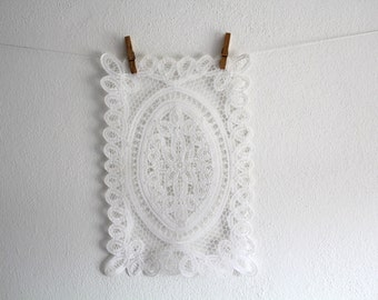 SALE 50 OFF Cotton Doily Vintage Home Decor White Rectangular Doily Shabby Chic
