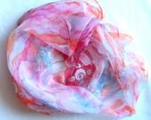 Hand Painted 100 % silk Chiffon batik shawl  rose.