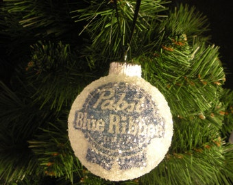 NEW!! Pabst Blue Ribbon Beer, glass glitter ornament