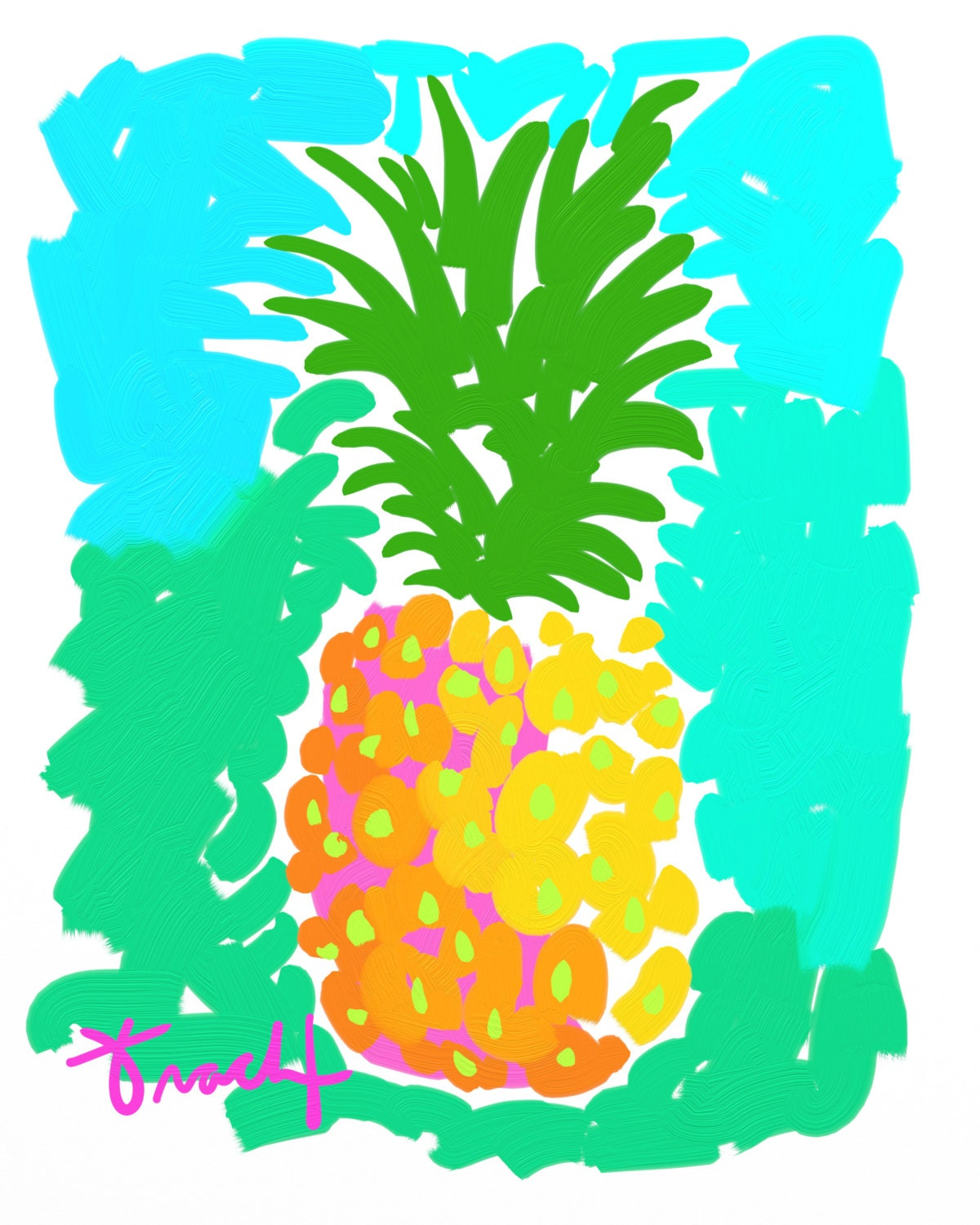 pineapple art print pink yellow green kelly tracht. Black Bedroom Furniture Sets. Home Design Ideas