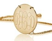 Monogram necklace - 1 inch Personalized Monogram - Gold Monogram Disc Necklace