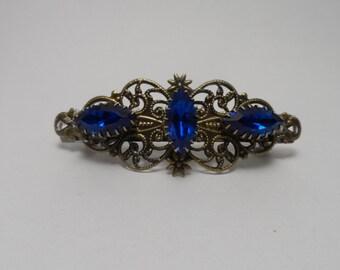 Sapphire barrette Victorian hair jewelry victorian barrette filigree barrette blue barrette hair clip hair accessories bridesmaid barrette