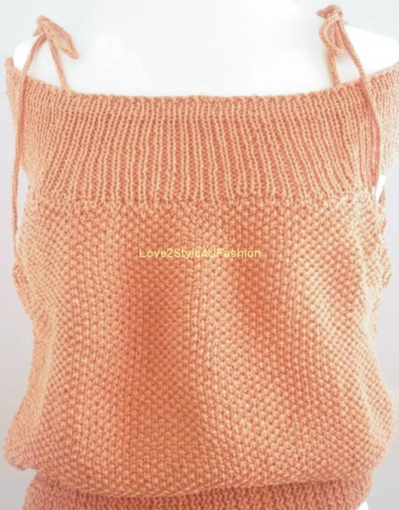 Hand Knit Womens Sweater Hand Knitted Top Three Way Gorgeous Cowl Neck Designers Sweater Loose Fit Size Medium Love2Style4UFashion-Coral