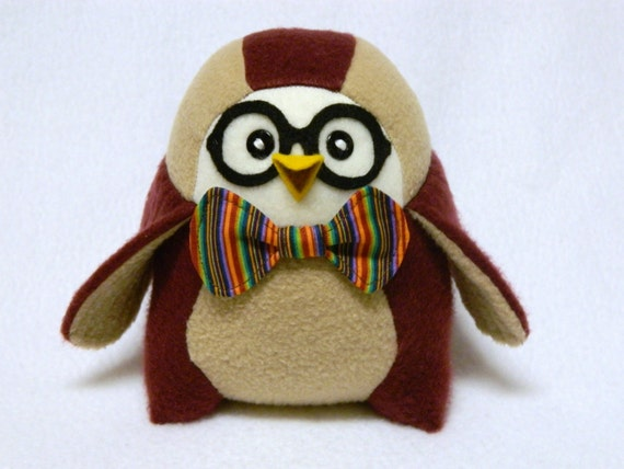 Stuffed nerd bird plush toy owl glasses and bow tie