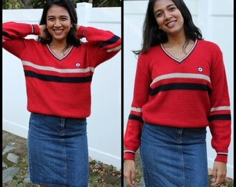 Red V-Neck Striped Athletic Pullover Sweater Women's