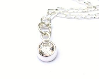 CZ Pendant Necklace | Cubic zirconia drop necklace | Dainty Everyday Tiny Jewelry | Crisp Modern Jewelry | Minimalist Sparkle and Shine