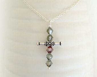 Cross Crystal Necklace - Swarovski - Women Necklace - Purple Grey Crystal Cross -  Glass Cross Silver Pendant