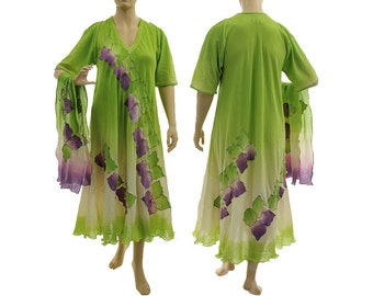 Boho maxi dress apple green purple with scarf, hand dyed wedding summer party cotton dress, art to wear plus size women L-XL US size 14-20