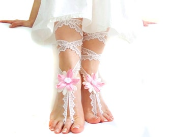 Wedding Crochet Barefoot sandal, Dreamy Wedding Jewelry, Romantic, Flower Barefoot Sandles, , Pink, Nude shoes, Foot jewelry