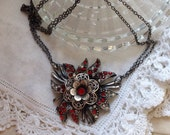 Repurposed Victorian Intricate Flower Pendant Ornate Antique Silver Red & Clear Stones Long Double Chain Vintage Statement Signed WishAnWear