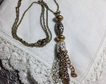 "Long Chain Tassel Necklace 28"" 2-Tone Mixed Metal Chains OOAK Original Assemblage Fringe Funky Boho Hippie Layering~ WishAnWearJewelry"