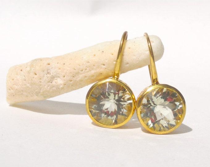 Green Amethyst Drop Earrings/ Gemstone Earrings