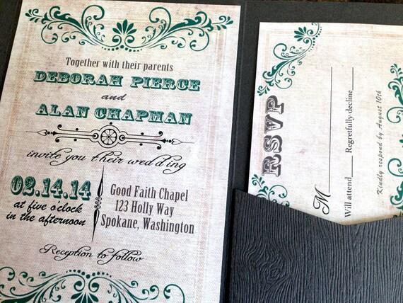 Rustic Western Wedding Invitations: Items Similar To Rustic Western Country Vintage Wedding