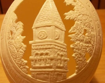 Carved Osrich Egg: Pinkerton Academy, Derry NH