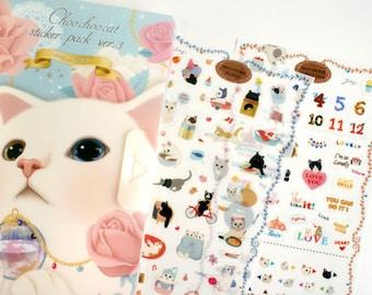 Choochoo Cat Sticker Pack Ver 3 - Deco Sticker - Korean Sticker - Diary Sticker - 8 sheets in