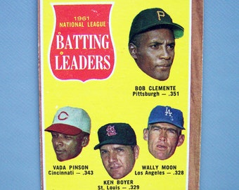 Vintage 1962 Topps Bob Clemente Batting Leaders Baseball Card