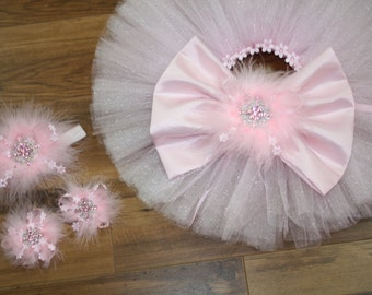 newborn (SET) tutu with headband and toe blooms, photo prop, baby girls, girls, first pictures