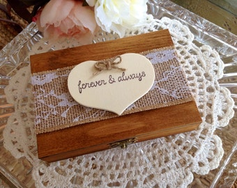 Rustic Ring Bearer Box, Pillow, Personalized.
