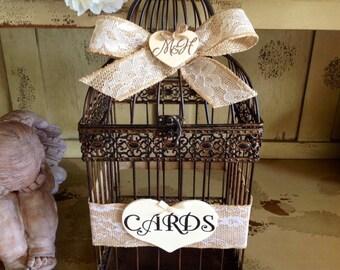 Wedding Birdcage, Rustic Wedding Card Box, Burlap Wedding.