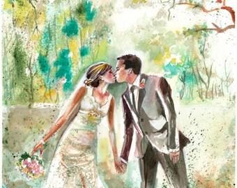 CUSTOM Wedding Portraits, Personalized  Wedding Anniversary Gifts by Kristin Glaze van Lieshout