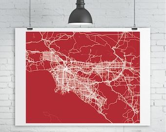 Los Angeles Map Print - Custom map of Los Angeles, California, Various Sizes & Colors, LA Map Art Print Poster