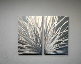 Metal Art Wall Art Decor Abstract Contemporary Modern Aluminum Sculpture Hanging Zen Textured - Radiance Silver 2 panel