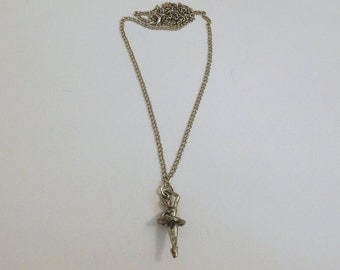 Children's Pewter Ballerina Charm on Silver Tone Link Chain Necklace - 0100