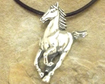 Sterling Silver Running Horse Pendant on 2mm Black Leather Cord Necklace - Free Shipping in the US - 1447