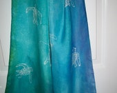 Swimming Sea Turtles 11 x 60 Hand Painted Silk Scarf