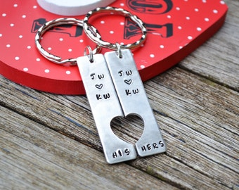 Hand Stamped his and hers keyring tags UK