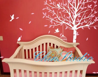 Nursery Wall Decals Wall Stickers-Master room wall decals-Leafy Tree with birds wall decal home decor
