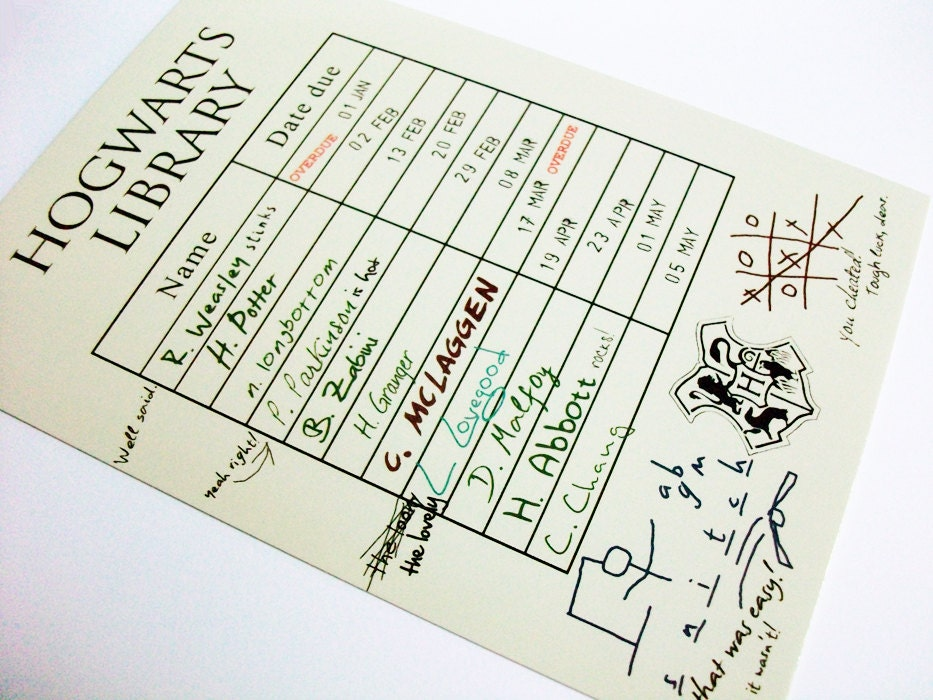 Wizarding School Postcard Magical Library Card