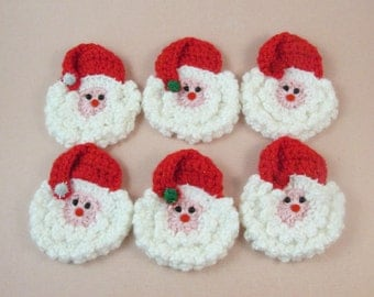 Crochet Santa Face Brooch Set of Six