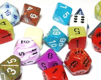 30 Multi-sided Dice for crafting or gameplay - mixed fun colors - non-typical number of sides