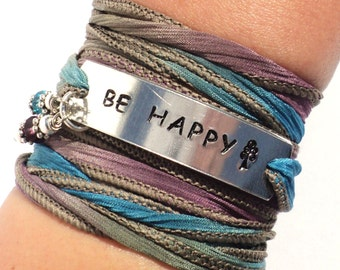 Be Happy Bracelet, Inspirational Jewelry, Quote Bracelet, Be Happy, Graduation Gift, Sisters Gift, Yoga Teacher Gift, Motivational Gift