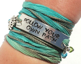 Follow Your Own Path Silk Wrap Bracelet Inspirational Words Jewelry With Meaning Namaste Motivational Quote Yogi Gift For Her Under 50 C36
