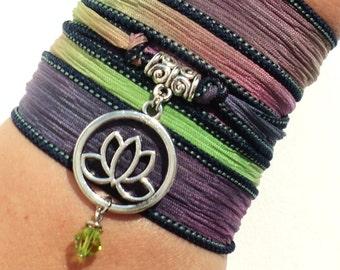Namaste Lotus Silk Wrap Bracelet Yoga Jewelry Upper Arm Band Etsy Unique Flower Stocking Stuffer Christmas Yogi Gift Under 50 Item M3