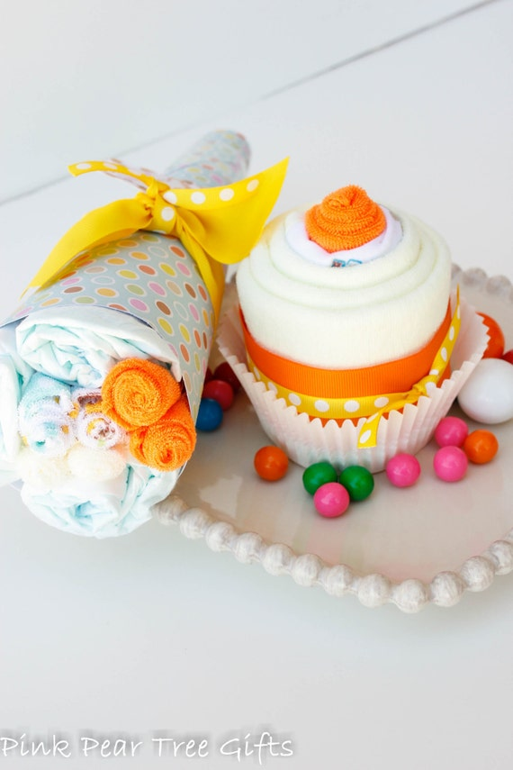Banana Split Cupcake New Baby Shower Gift Set w/ Bouquet