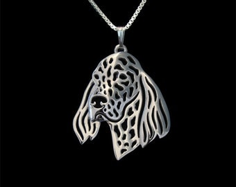 English Setter jewelry - sterling silver pendant and necklace.