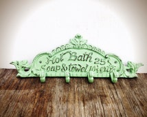 BOLD soft mint green BATH sign towel hook // nautical beach vintage inspired // cottage chic  // multi wall hook // shabby CHIC