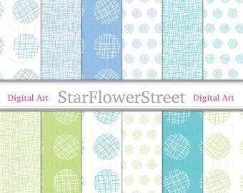 Blue Green, Digital Paper, Crosshatch, linen, circles, dots, printable, scrapbook, DIY baby shower download boy scrapbook paper crosshatched