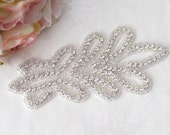 Rhinestone  Applique / Bridal Applique /  Beaded Applique / DIY sash / (RA-23) Iron on
