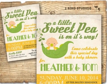 Little sweet pea baby shower invitation - sweet pea baby shower invite - coed baby shower or gender neutral printable invitation