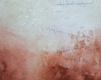 """Original Contemporary Abstract Mixed Media Painting on Canvas 7""""x7"""" White, Rust, Red"""