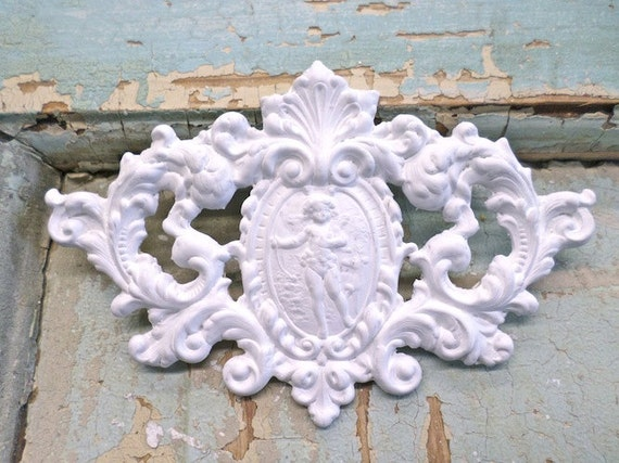 Shabby Chic Architectural Crest Furniture Appliques Wood - Crest furniture