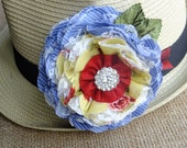 Seaside Blue, Yellow, Red, Lace, Tulle, Brooch, Corsage, Hat Pin, Hair Barrette, Country Wedding, Textile Corsage Brooch, Floral Bridal Sash