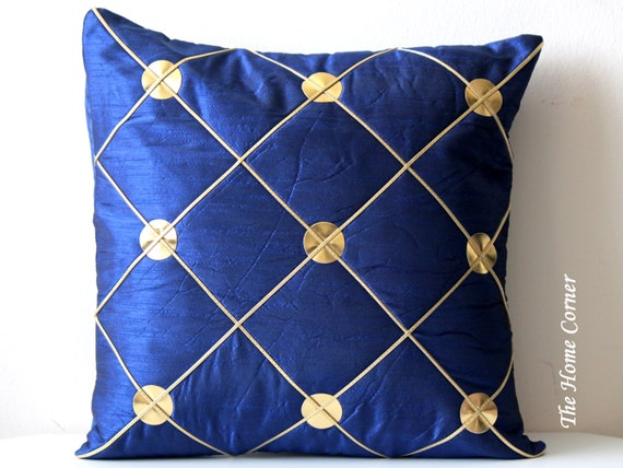 Navy blue and gold throw pillow navy blue pillow cover throw for Blue and gold pillows