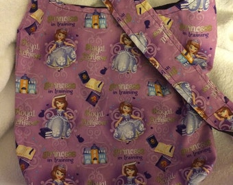 Sofia the First inspired Princess in training Print Hobo REVERSIBLE CrossBody Bag / purse